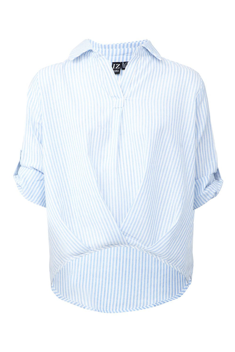Blue | Striped Twist Front Shirt