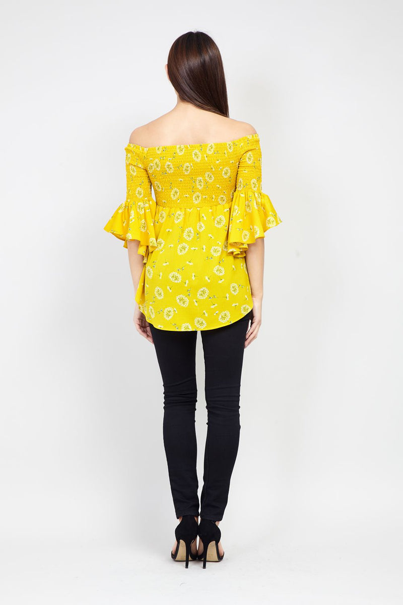 Yellow | Floral Print Shirred Bardot Top