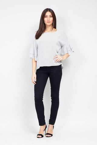 Marl Knit Top With Zip Details