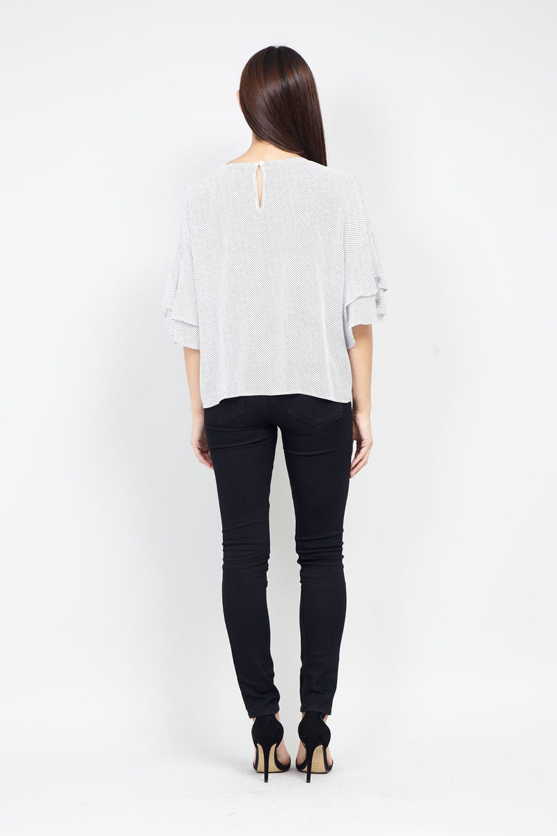 White | Frill Sleeve Blouse