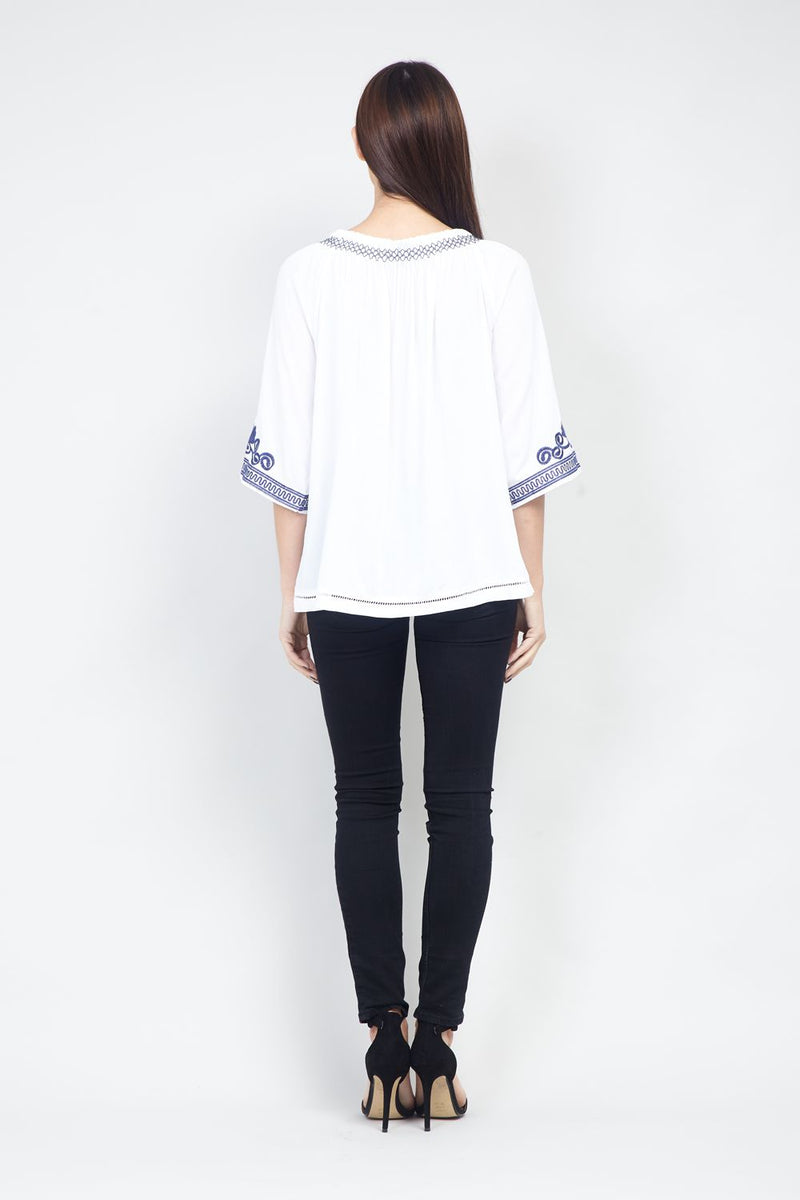White | Embroidered Peasant Top