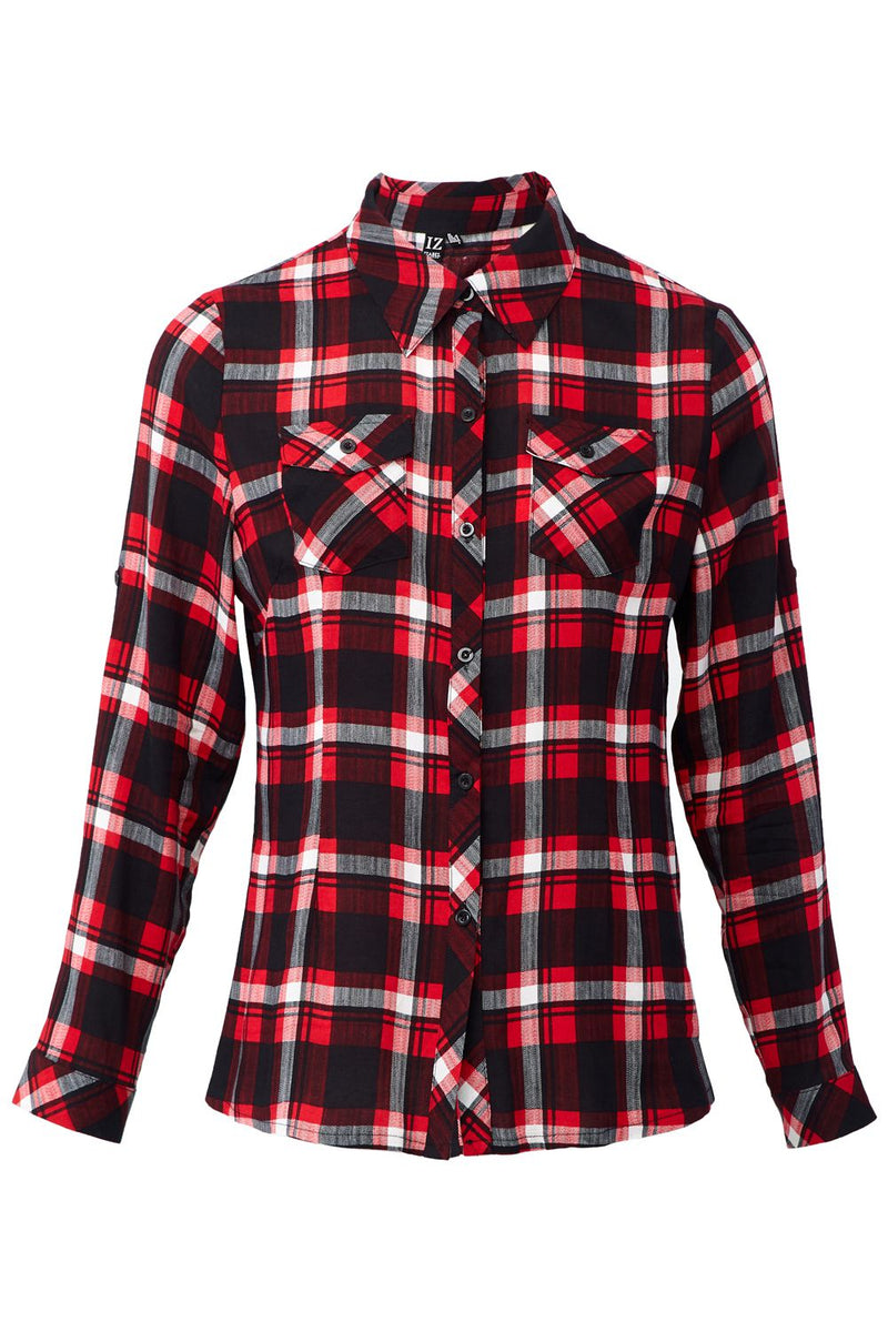 Red | Checked  Button Front Shirt