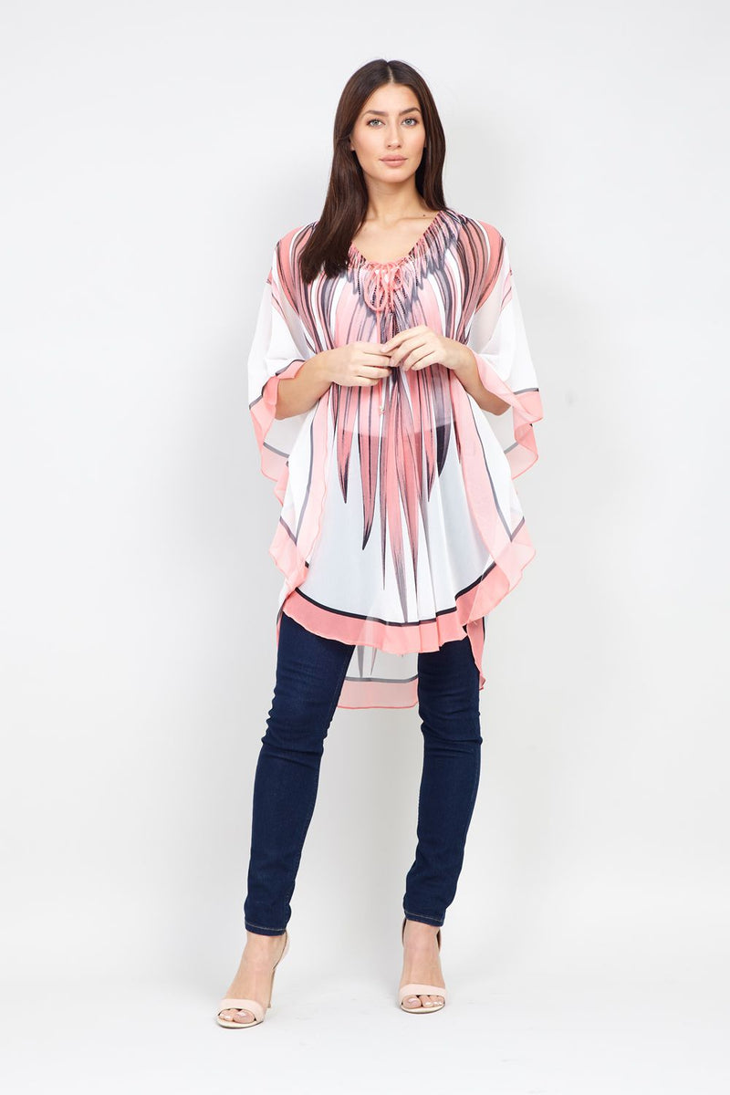 Pink | Feather Kaftan Top