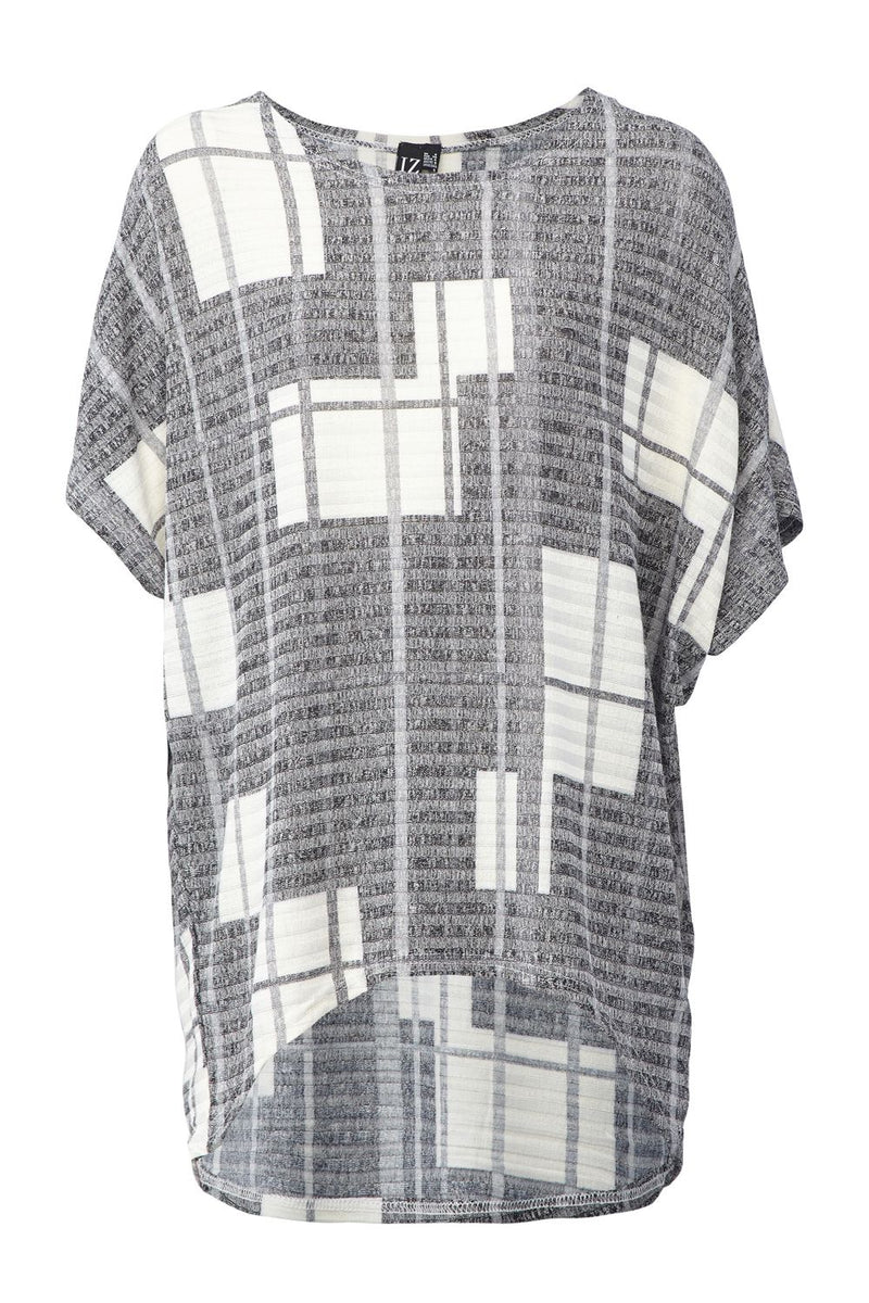 Grey | Grid Print Boxy Top