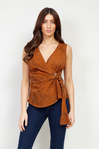 Eastern Print Vest Top With Dip Back Hem
