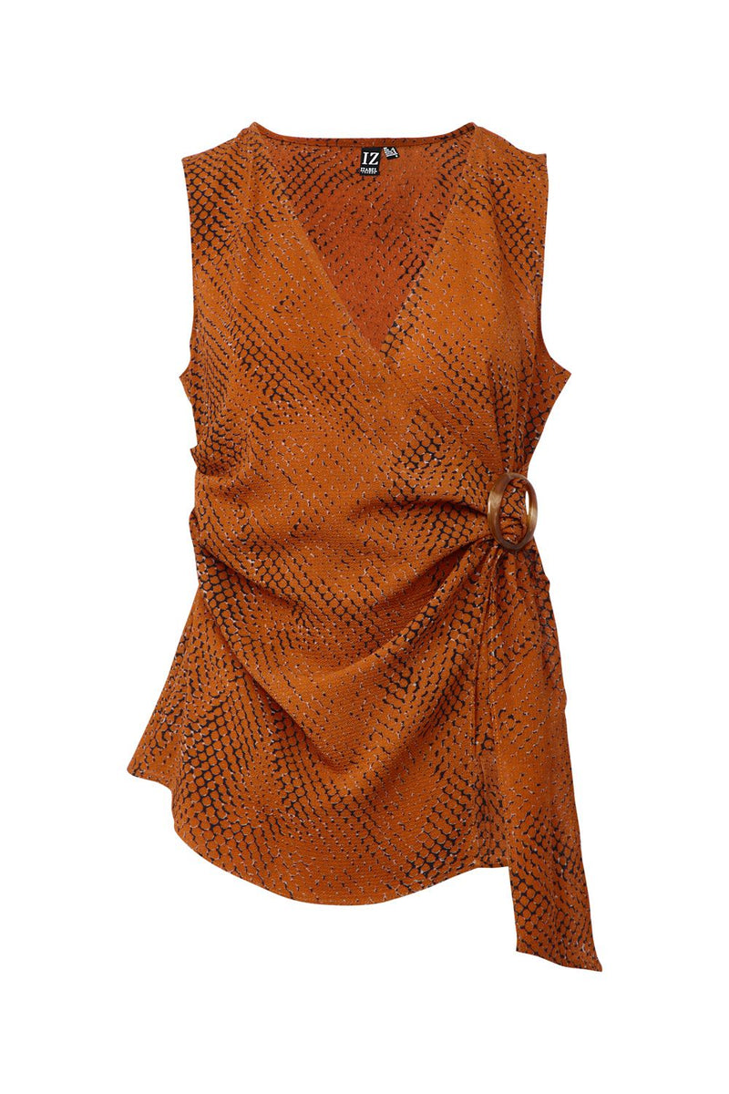 Brown | Snake Print Wrap Front Top