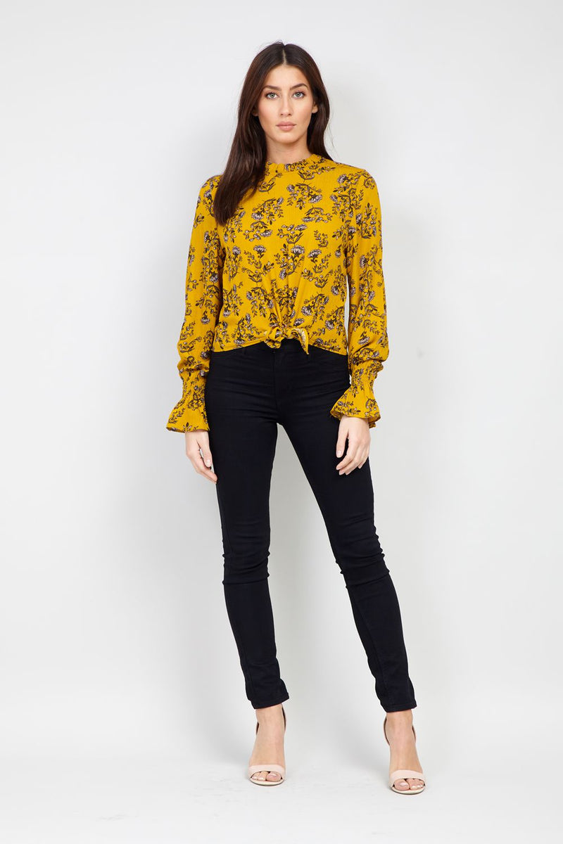 Yellow | Floral Tie Front Blouse
