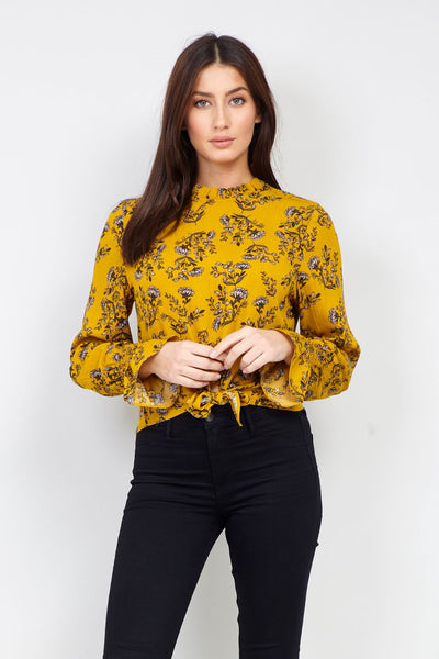 Floral Tie Front Blouse - Izabel London