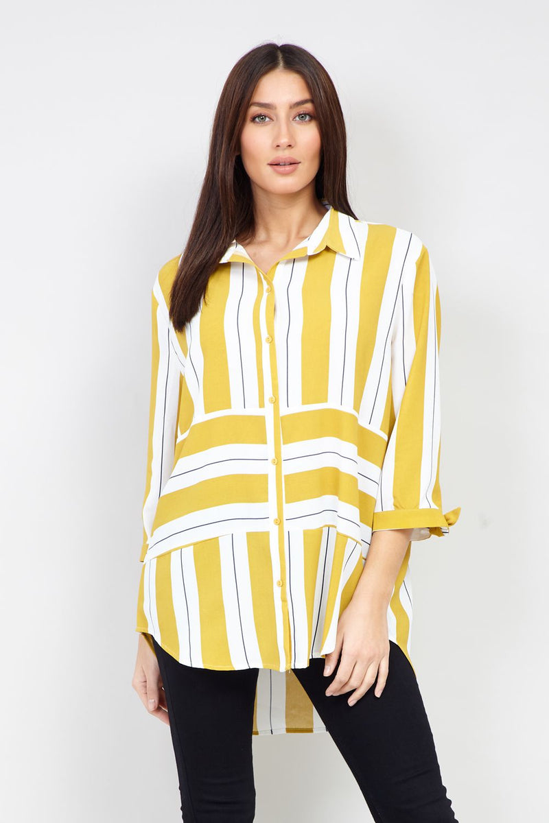 Yellow | Striped Dip Hem Shirt