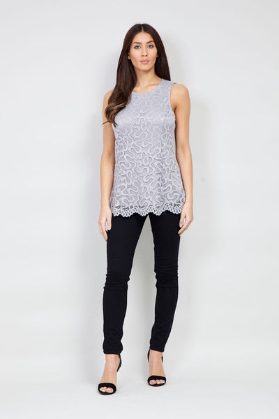 Lace Overlay Top - Izabel London