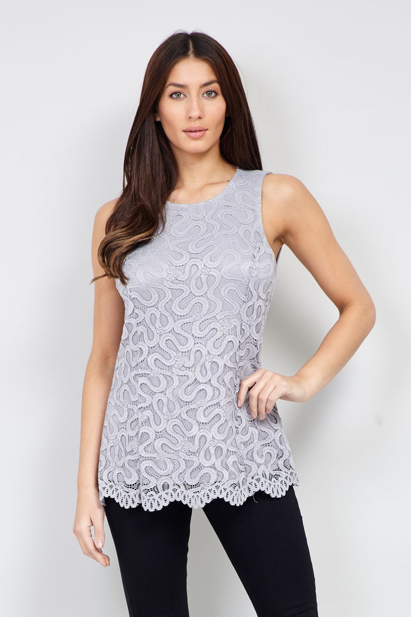 Grey | Lace Overlay Top