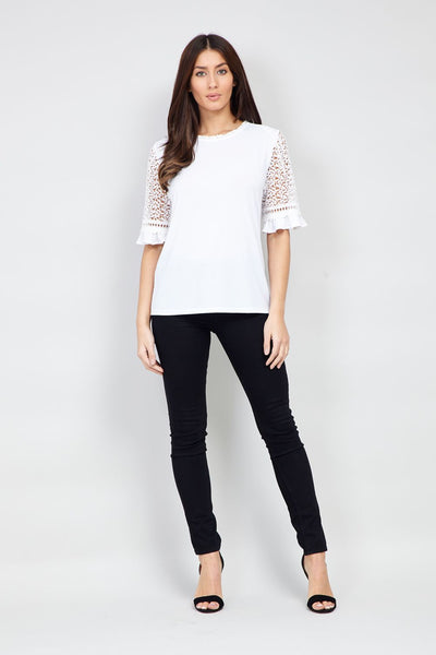 b895cd0eb61f09 Lace Sleeve Blouse - Izabel London