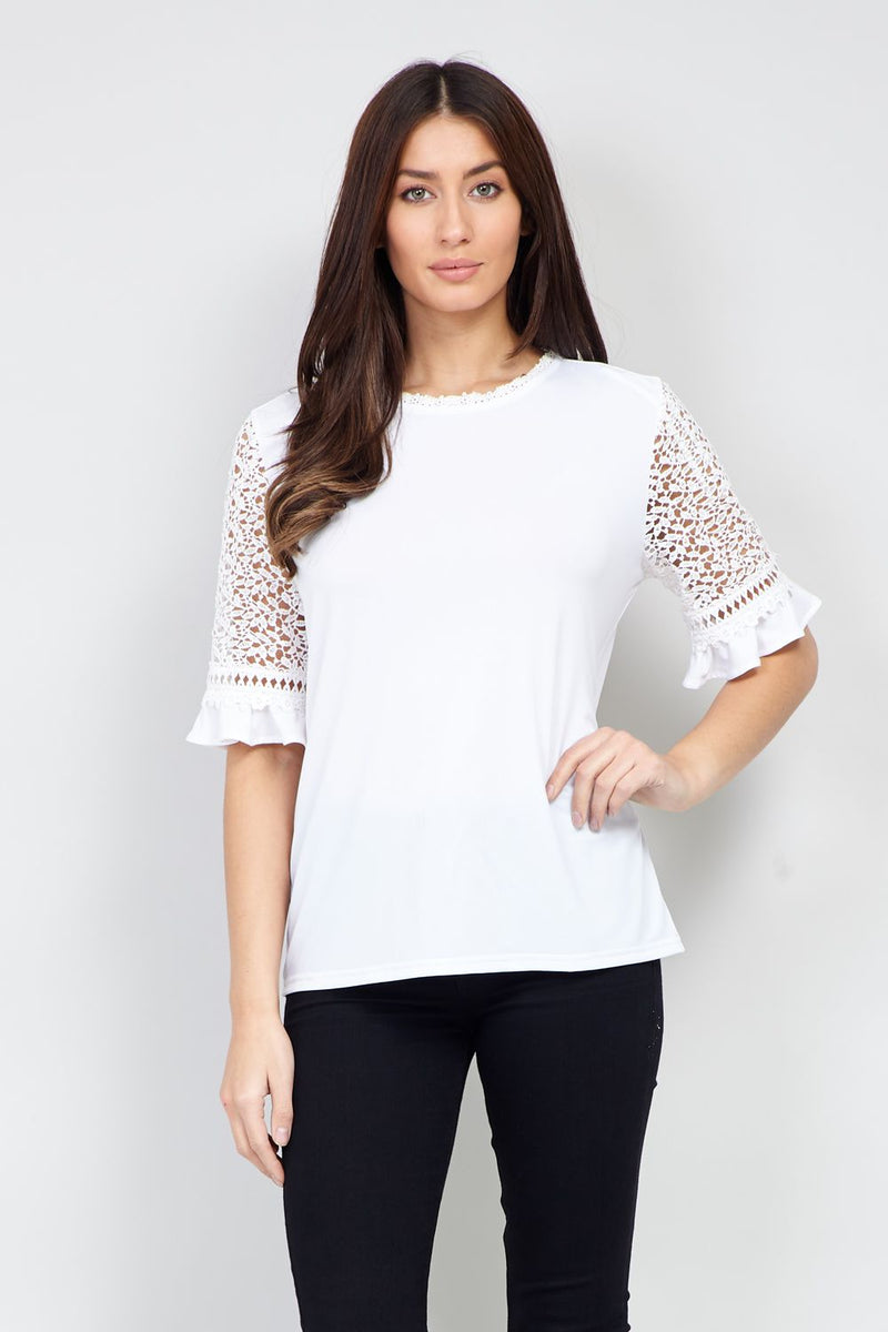 White | Lace Sleeve Blouse