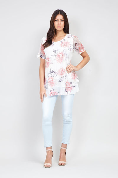 Floral Print Overlay Top - Izabel London