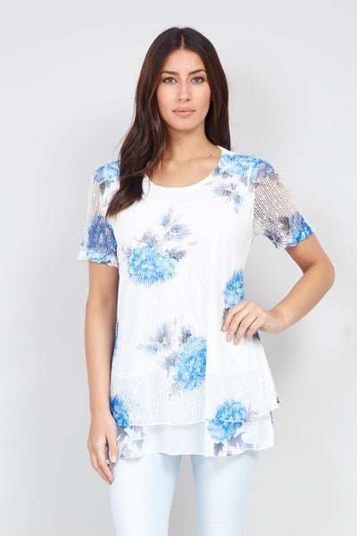 Floral Print Layered Top - Izabel London