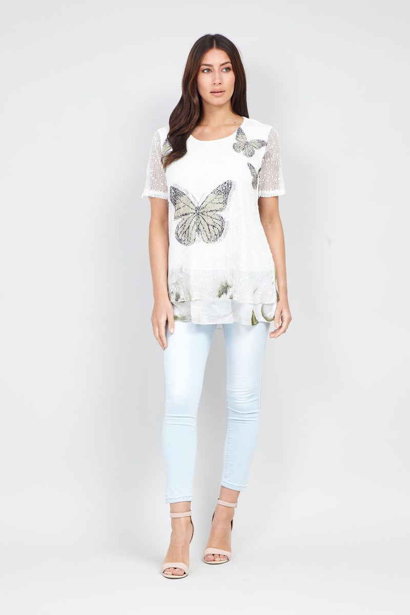 Khaki | Butterfly Print Layered Top