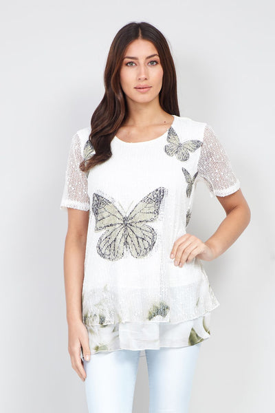 Butterfly Print Layered Top - Izabel London