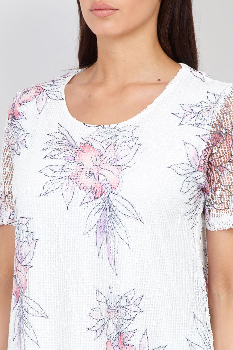Purple | Bouquet Print Layered Top