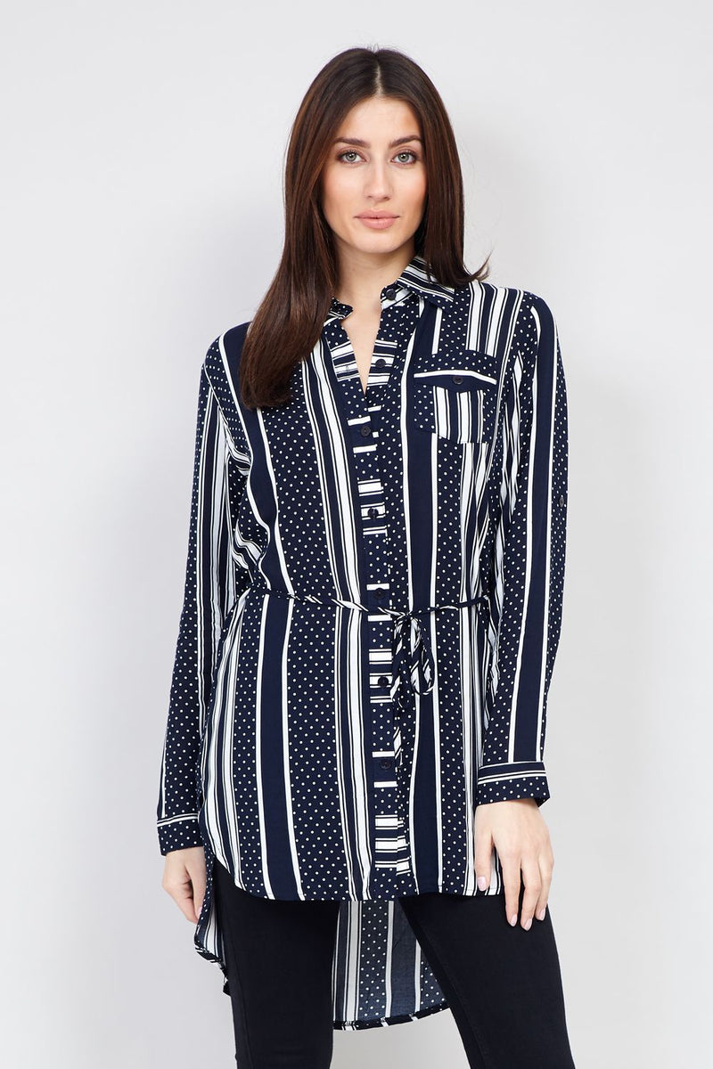 Navy | Striped Tie Waist Shirt