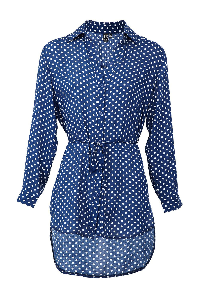 Navy | Polka Dot Tie Waist Shirt