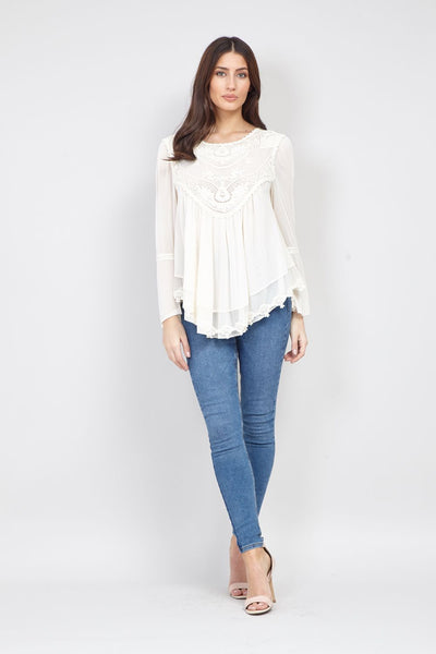 Lace Detail Blouse - Izabel London
