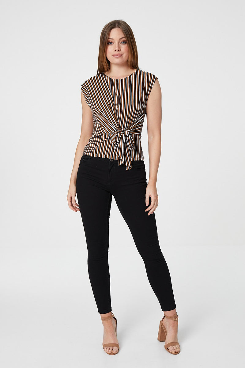 Brown | Stripe Tie Side Top