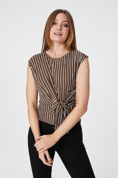 Stripe Tie Side Top - Izabel London