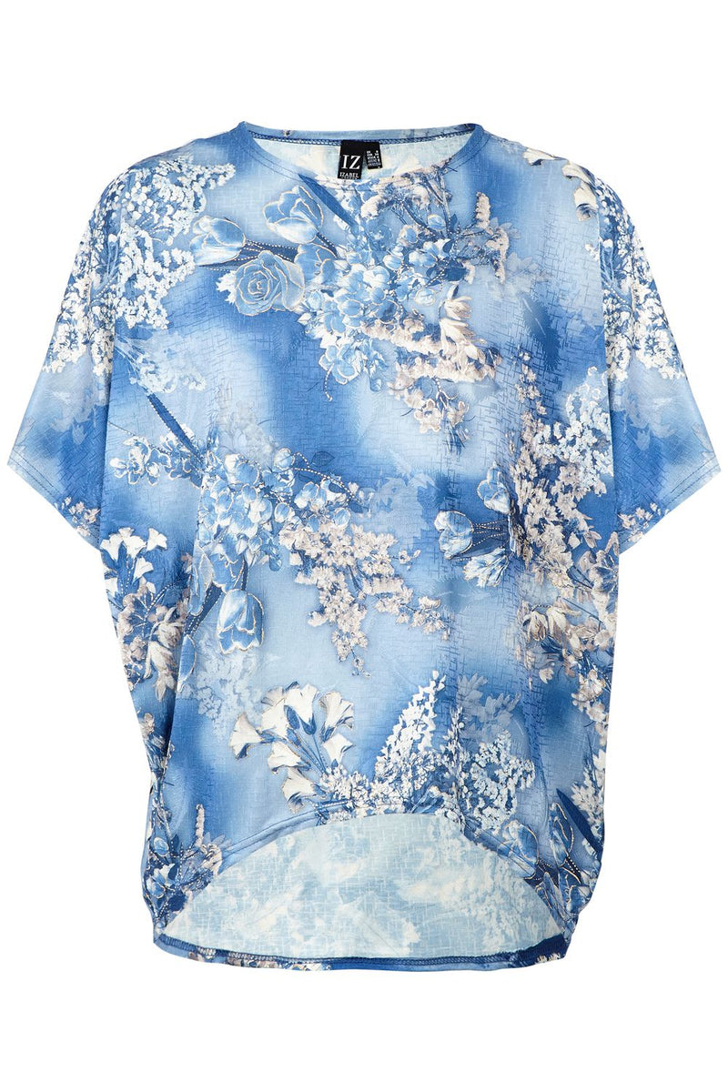 Blue | Floral Oversized Top