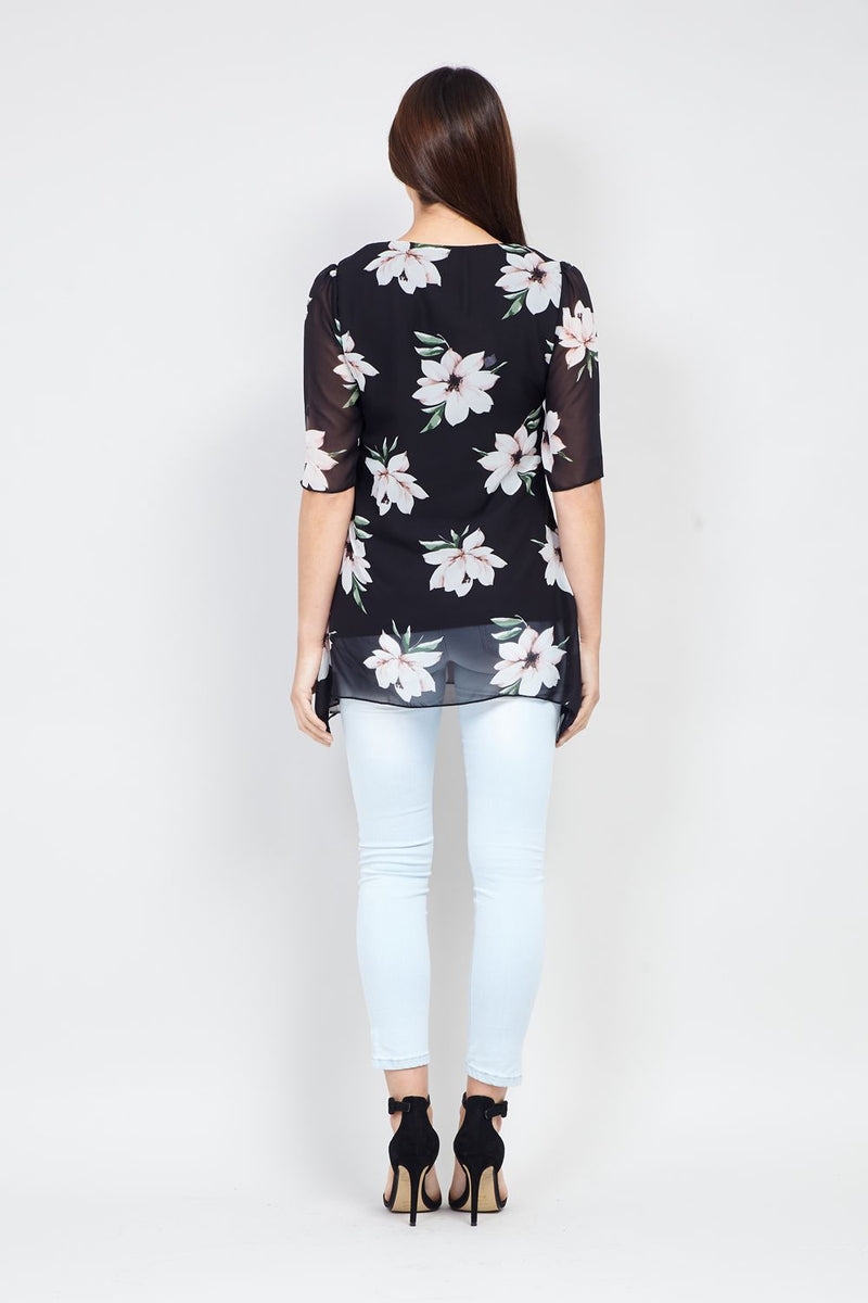 Black | Floral & Sheer Layered Top