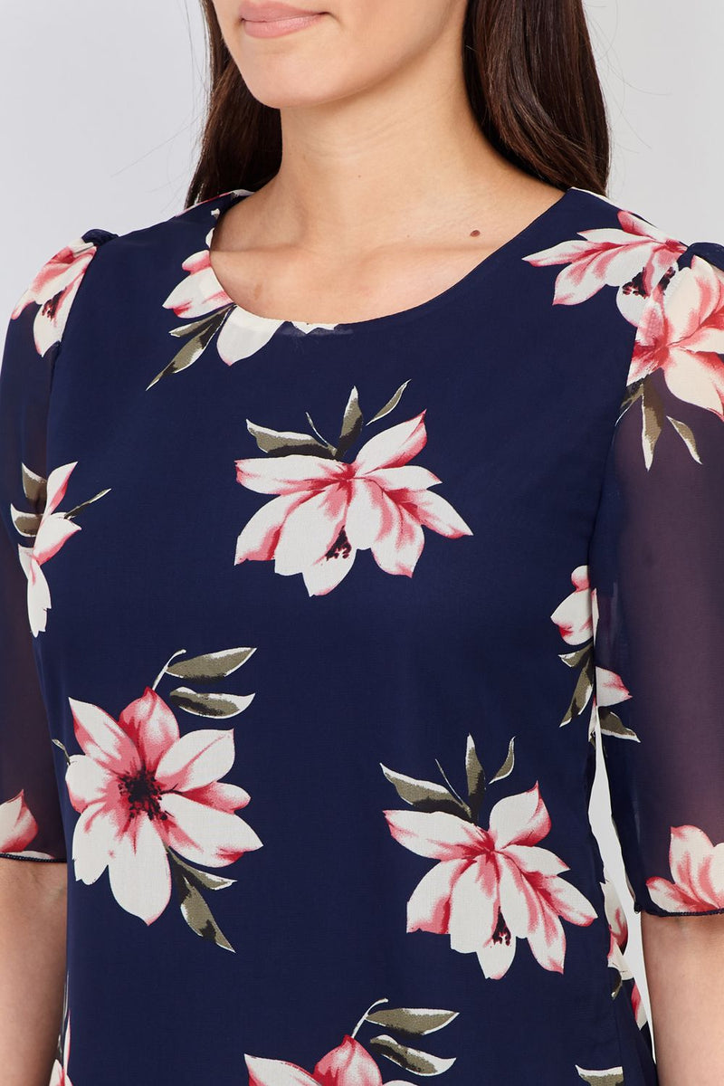 Navy | Floral & Sheer Layered Top