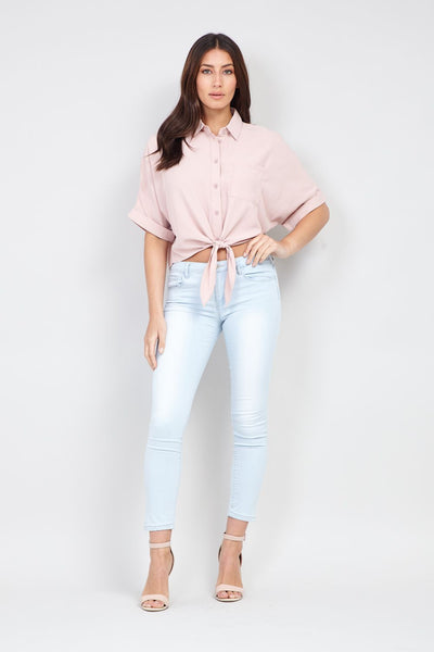Tie Waist Button Front Shirt - Izabel London