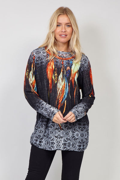 Black | Tribal Print Pullover