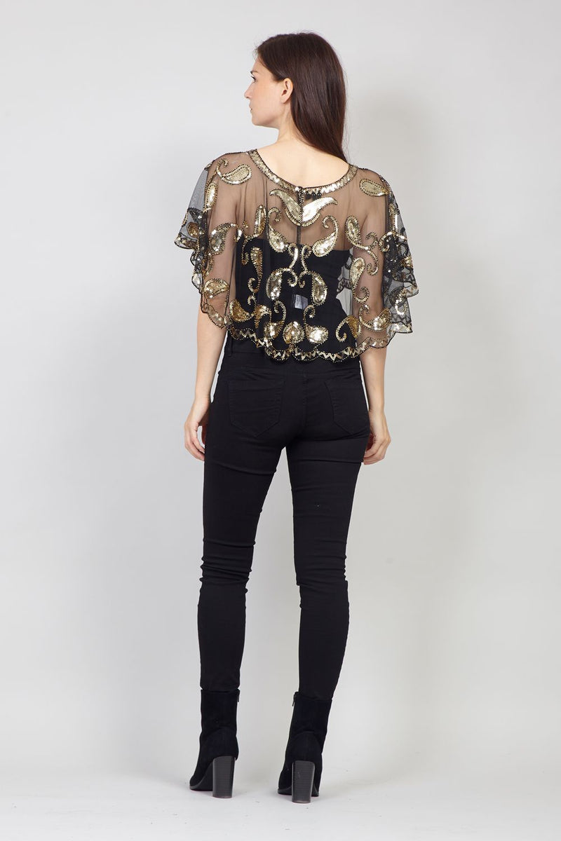 Gold | Cropped Sequinned Bolero