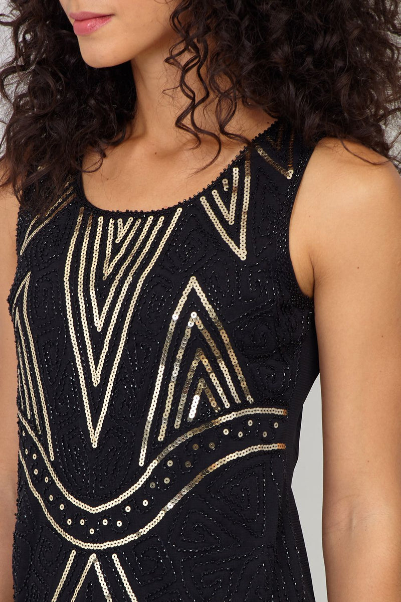 Black | Chevron Sequinned Cami Top