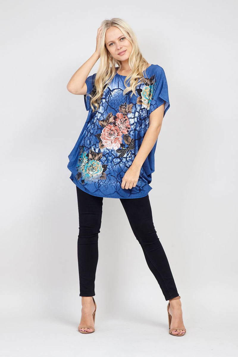 Navy | Floral Slouchy Top