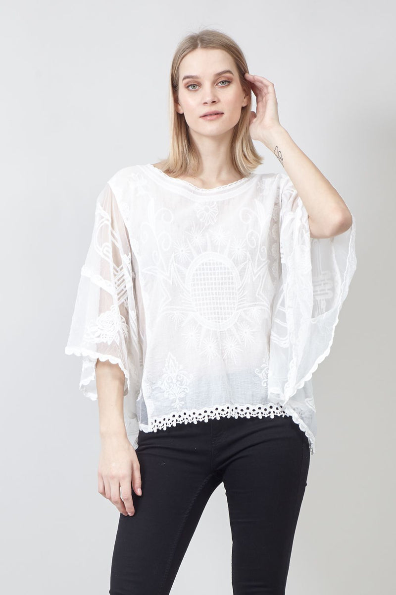White | Embroidered Bating Kaftan Top