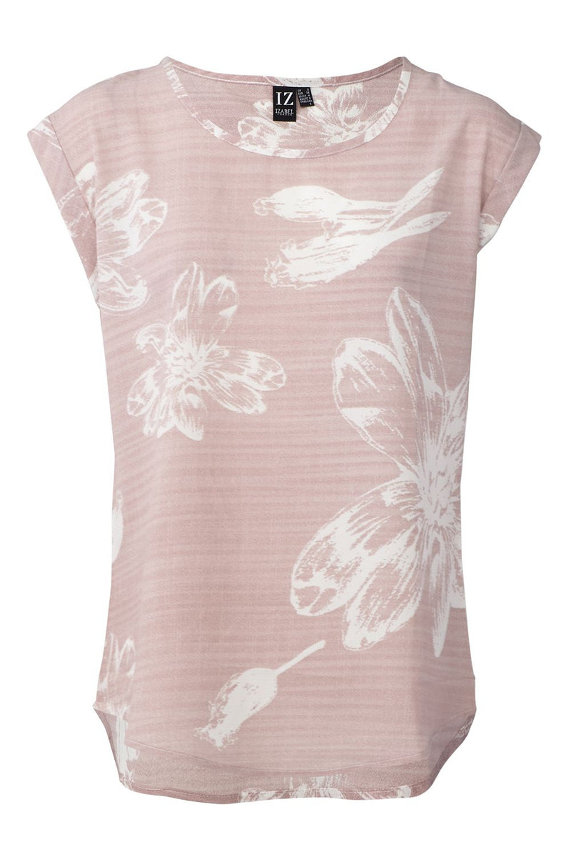 Pink | Floral Print Turn-Up Sleeve T-Shirt