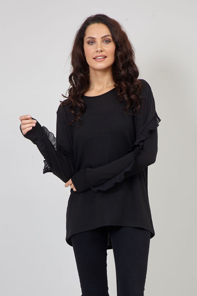 Black | Sheer Sleeve Sweatshirt