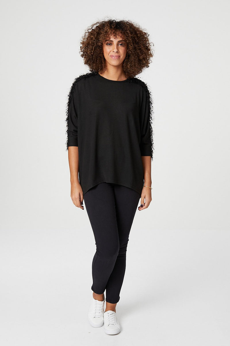 Black | Textured Shoulder Detail Jumper