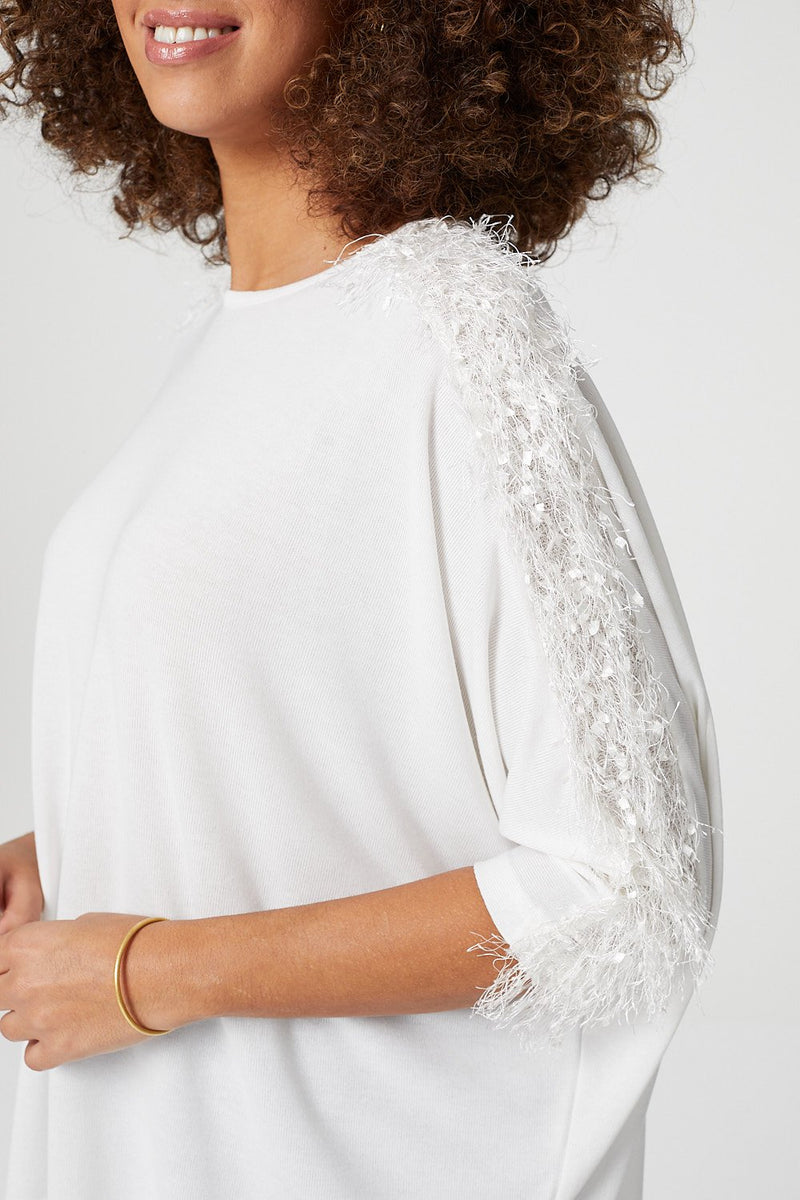 White | Textured Shoulder Detail Jumper