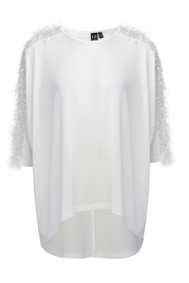 White | Sheer Shoulder Detail Jumper
