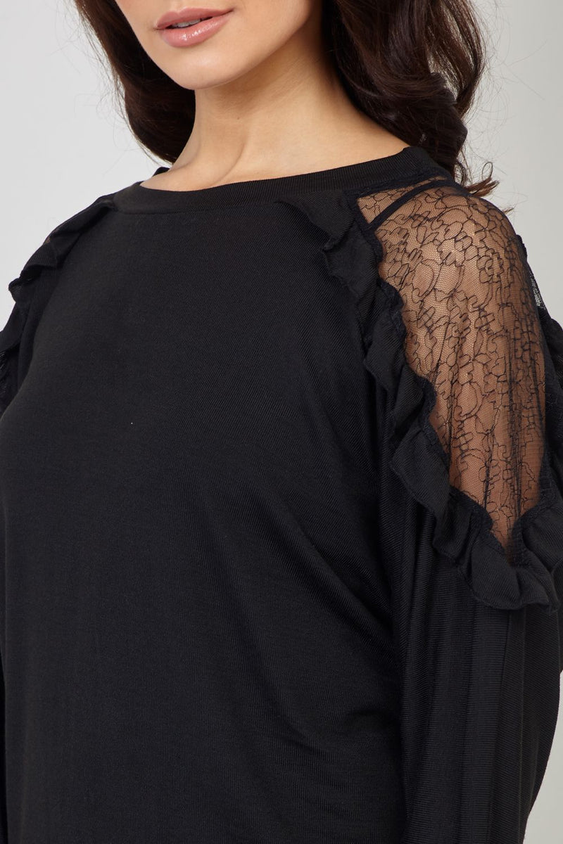 Black | Lace Detail Sheer Sleeve Top