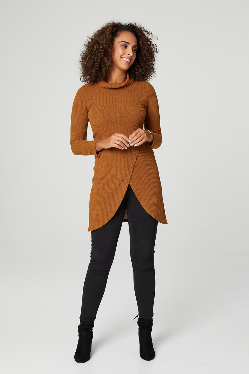 Mustard | Longline Wrap Front Tunic Top