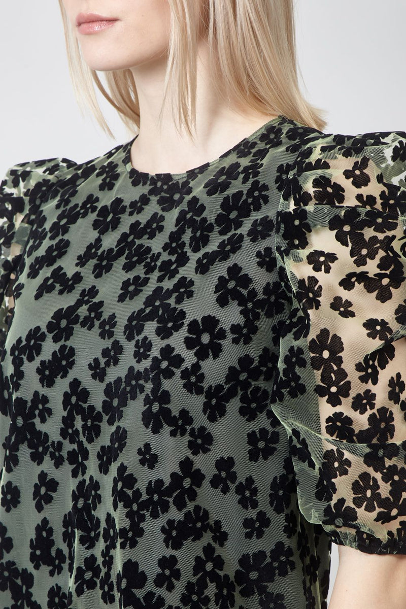 GREEN | Floral Sheer Puff Sleeve Blouse