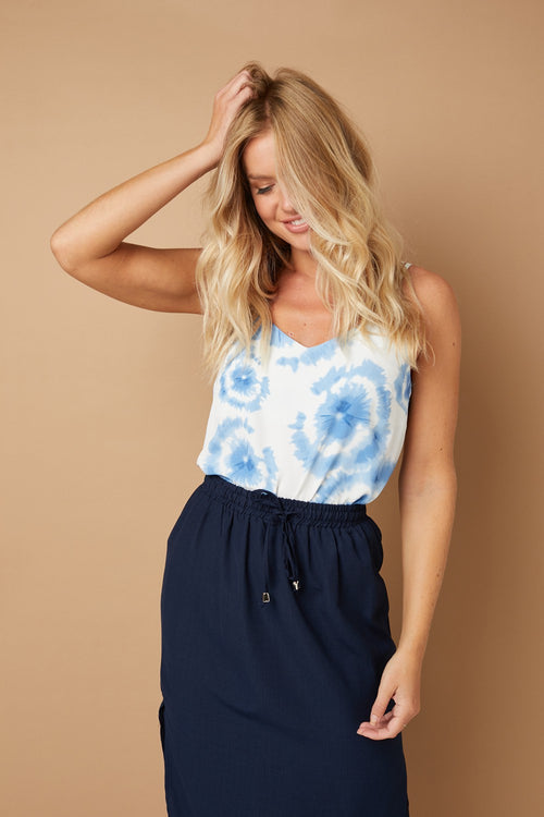 Tie Dye V-Neck Strappy Cami Top