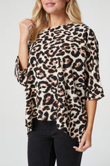 Brown | Animal Print Batwing Oversized Blouse
