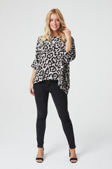 Grey | Animal Print Batwing Oversized Blouse
