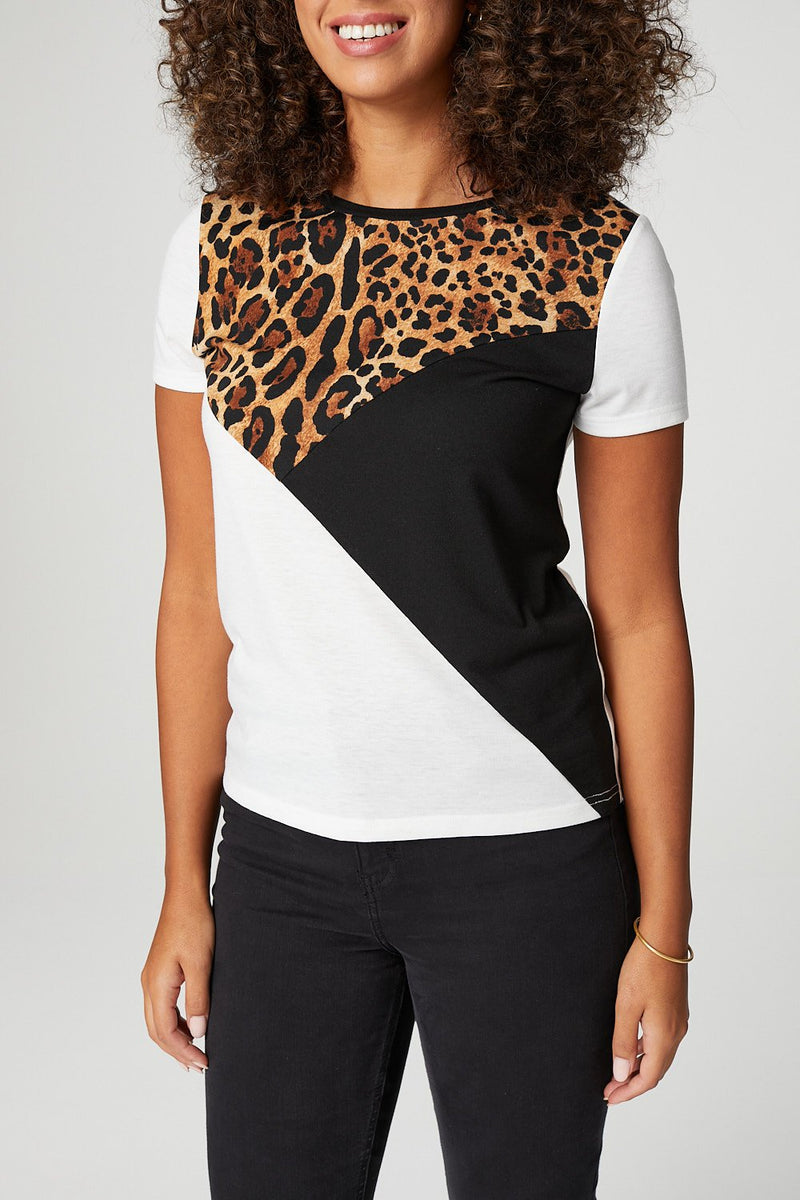 White | Animal Print Colour Block T-Shirt
