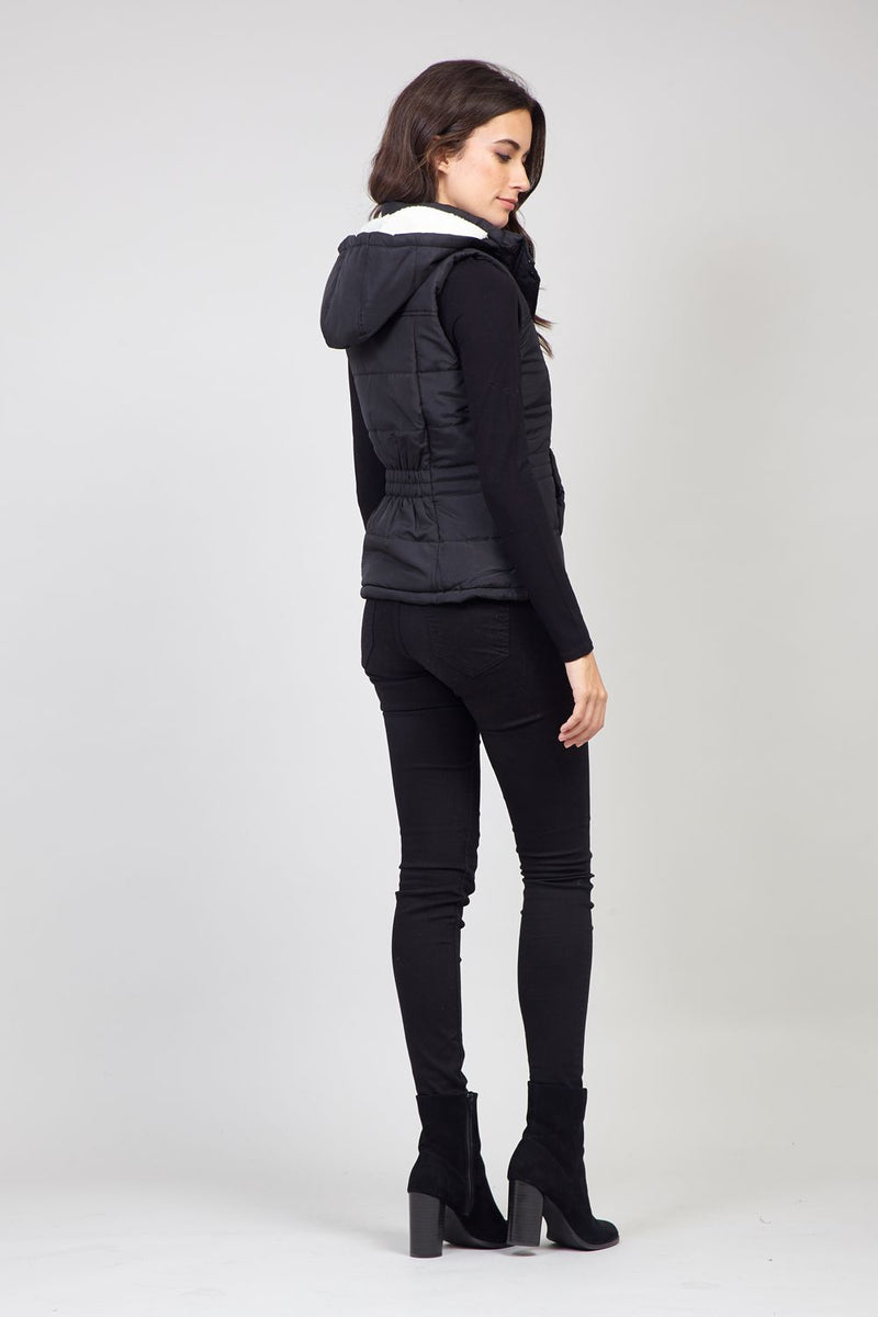 Black | Hooded Fleece Lined Gilet