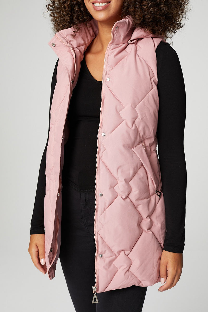 Pink | Quilted Hooded Longline Gilet